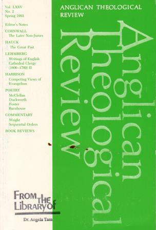 Cover of Anglican Theological Review Vol. LXXV, No. 2, Spring 1993